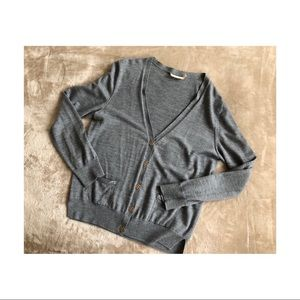 Tory Burch 100% merino wool grey cardigan